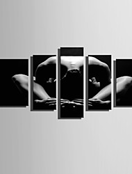 cheap -E-HOME Stretched Canvas Art Beautiful Lines Of Human Body Decoration Painting Set Of 5
