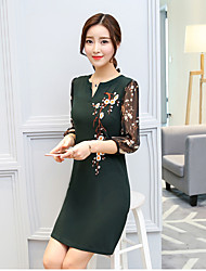 Women's Sports Going out Casual/Daily Sexy Street chic Active A Line Loose Sheath Dress,Solid Jacquard Embroidered V Neck Above Knee 3/4