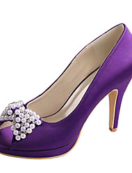 cheap -Women's Shoes Stretch Satin Spring / Summer Basic Pump Wedding Shoes Stiletto Heel Peep Toe Crystal / Bowknot Red / Dark Purple