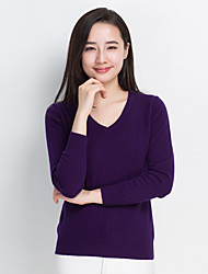 cheap -Women's Long Sleeves Cashmere Cashmere - Solid V Neck