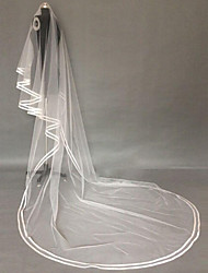 cheap -One-tier Ribbon Edge Pencil Edge Wedding Veil Cathedral Veils With Ribbon Tulle