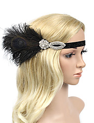 cheap -Rhinestone Feather Polyester Alloy Headbands Flowers Headpiece