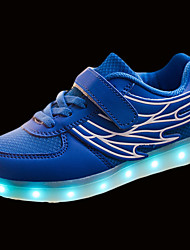Girls' Athletic Shoes Comfort Spring Fall PU Walking Shoes Casual Hook & Loop LED Flat Heel White Black Blue Under 1in