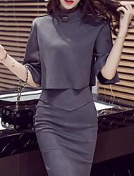 T-shirt Gonna Completi abbigliamento Da donna Per uscire Casual Boho Autunno Inverno,Tinta unita Colletto alla coreana Maniche a ¾