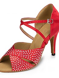 baratos -Mulheres Sapatos de Dança Latina Cetim Sandália Cristal / Strass Salto Agulha Personalizável Sapatos de Dança Preto / Vermelho / Couro