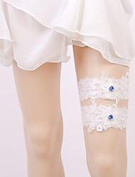 baratos -Elástico Aquecedores de Pernas / Festa / Casamento Wedding Garter Com Pedrarias / Apliques Ligas