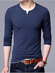 cheap -Men's Wool Pullover - Solid Striped Round Neck