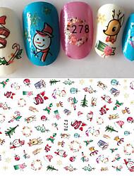 cheap -1pcs Fashion Happy Xmas Colorful Design Lovely Decoration Christmas Nail Art DIY 3D Sticker F278