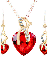 Women's Stud Earrings Necklace Jewelry Set Rhinestone Fashion Alloy Heart For Party Wedding Gifts