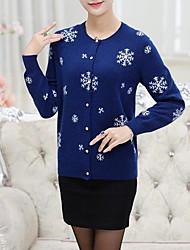 Standard Cashmere Da donna-Casual Semplice Con stampe Rotonda Manica lunga Altro Autunno Inverno Medio spessore Media elasticità