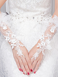 Wrist Length Fingerless Glove Lace Bridal Gloves All Seasons Rhinestone Floral