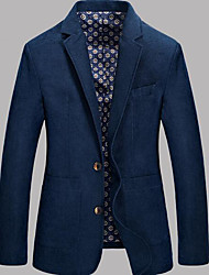 Men's Casual/Daily Simple Spring Blazer,Solid Shawl Lapel Long Sleeve Regular Cotton
