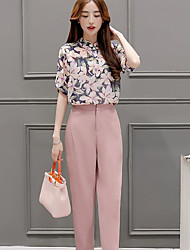 Women's Casual/Daily Simple Summer Blouse Pant Suits,Floral Stand ½ Length Sleeve Micro-elastic
