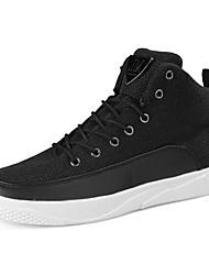 cheap -Men's Sneaker Comfort Spring Fall PU Linen Casual Lace-up Flat Heel Beige Black White Flat