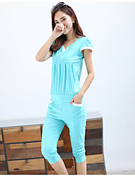 Women's Going out Casual Summer T-shirt Pant Suits,Solid Round Neck Mid Length Pant Modern Style strenchy