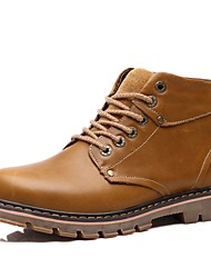 Men's Boots Combat Boots Real Leather Cowhide Nappa Leather Fall Winter Casual Office & Career Party & Evening Lace-up Flat HeelDark