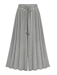 cheap -Women's High Rise Inelastic Loose Wide Leg Pants,Street chic Solid Cotton Rayon All Seasons