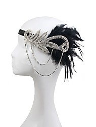 Rhinestone Feather Polyester Alloy Headbands Flowers Headpiece