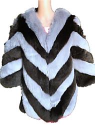 Cappotto di pelliccia Da donna Casual Semplice Autunno Inverno,Monocolore Rotonda Pelliccia di volpe Standard Manica lunga