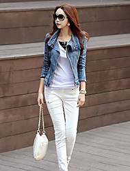 Women's Going out Simple Winter Denim Jacket,Solid Shirt Collar ¾ Sleeve Short Polyester