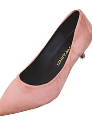 cheap -Women's Heels Light Soles Spring Fall PU Casual Dress Kitten Heel Blushing Pink Gray Beige Black 1in-1 3/4in