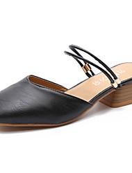 abordables -Femme Chaussures Polyuréthane Eté A Bride Arrière Sabot & Mules Block Heel Bout carré pour Habillé Noir Beige