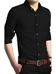 Formal Work Simple Spring ShirtSolid Stand Long Sleeve Blue Pink White Cotton Polyester Medium