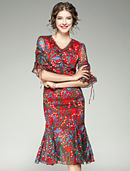 EWUS/Women's Going out Casual/Daily Street chic A Line DressFloral V Neck Knee-length Half Sleeve Polyester Spandex Summer Fall High Rise