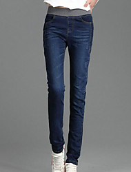cheap -Women's Mid Rise Micro-elastic Skinny Jeans Pants,Casual Solid Summer