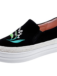 Women's Sneakers Comfort Spring Summer Real Leather Cowhide Casual Outdoor Flower Platform Creepers Black Gray Green 1in-1 3/4in