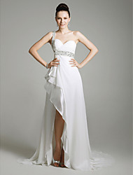 Sheath / Column One Shoulder Sweetheart Sweep / Brush Train Military Ball Dress with Beading by TS Couture®