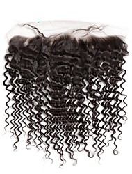 Deep Wave Lace Frontal Closure Brazilian Remy Human Hair with Baby Hair 130% Density with Pre plucked Hairline