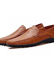 cheap -Men's Loafers & Slip-Ons Light Soles Spring Fall PU Casual Ruched Flat Heel Dark Brown Dark Brown Black Flat