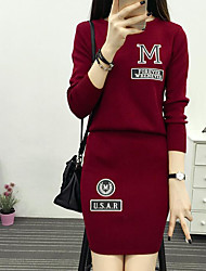 cheap -Women's Going out Club Casual Spring Fall Hoodie Skirt Suits,Solid Round Neck Long Sleeve Cotton