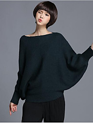 Women's Casual/Daily Regular Pullover,Solid Boat Neck Long Sleeves Wool Others Fall Medium Micro-elastic