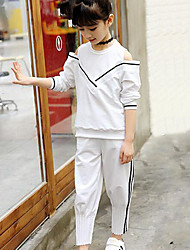 Girls' Striped Patchwork Sets,Rayon Spring Fall Long Sleeve Clothing Set