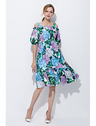 cheap -STEPHANIE Women's Daily Going out Cute Loose Sheath Dress,Floral Boat Neck Midi Knee-length Half Sleeves Silk Summer Mid Rise Micro-elastic Opaque