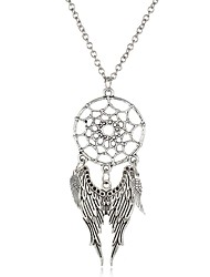 cheap -Women's Round Leaf Dream Catcher Wings / Feather Shape Vintage Bohemian Fashion Pendant Necklace Chain Necklace Turquoise Turquoise Alloy