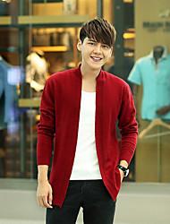 Men's Casual/Daily Regular Cardigan,Solid Cowl Neck Long Sleeves Cotton Fall Winter Medium Micro-elastic
