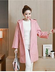 Cappotto Da donna Casual Semplice Inverno,Tinta unita Con cappuccio Cashmere Standard Manica lunga