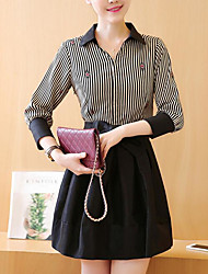 Women's Going out Casual/Daily Street chic Active A Line Loose Little Black Dress,Solid Striped Shirt Collar Above Knee Long Sleeves