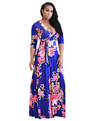 cheap -Women's Beach Boho Swing Dress - Floral High Rise Maxi V Neck