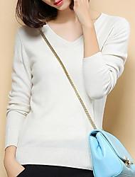 Standard Cashmere Da donna-Casual Semplice Tinta unita A V Manica lunga Altro Autunno Inverno Medio spessore Media elasticità
