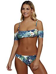 cheap -Women's Floral Print Bandeau Tankini Swimwear Blue