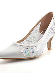 preiswerte -Damen Schuhe Spitze Glitzer Paillette Atmungsaktive Mesh Netz Seide Glanz Tüll Sommer Herbst Pumps Hochzeit Schuhe Stöckelabsatz Spitze