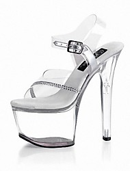 cheap -Women's Shoes PVC Summer Formal Shoes Sandals Stiletto Heel Peep Toe Rhinestone Buckle Lace-up for Dress Party & Evening Clear