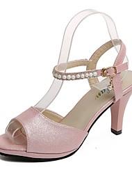 Mujer Zapatos PU Verano Confort Sandalias Tacón Stiletto Dedo Puntiagudo Pajarita Negro / Rojo / Marfil / A Rayas A1n6Hxlg