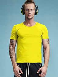 New men's short sleeve T-shirt cotton T-shirt fashion trend leisure sports classic clean color pure color Yellow T-shirt AMD1014-5