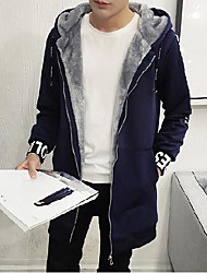Men's Daily Simple Casual Winter Trench Coat,Solid Letter Hooded Long Sleeve Regular Cotton