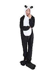 cheap -Adults' Kigurumi Pajamas with Slippers Panda Onesie Pajamas Costume Flannel Fabric Black / White Cosplay For Animal Sleepwear Cartoon Halloween Festival / Holiday / Christmas